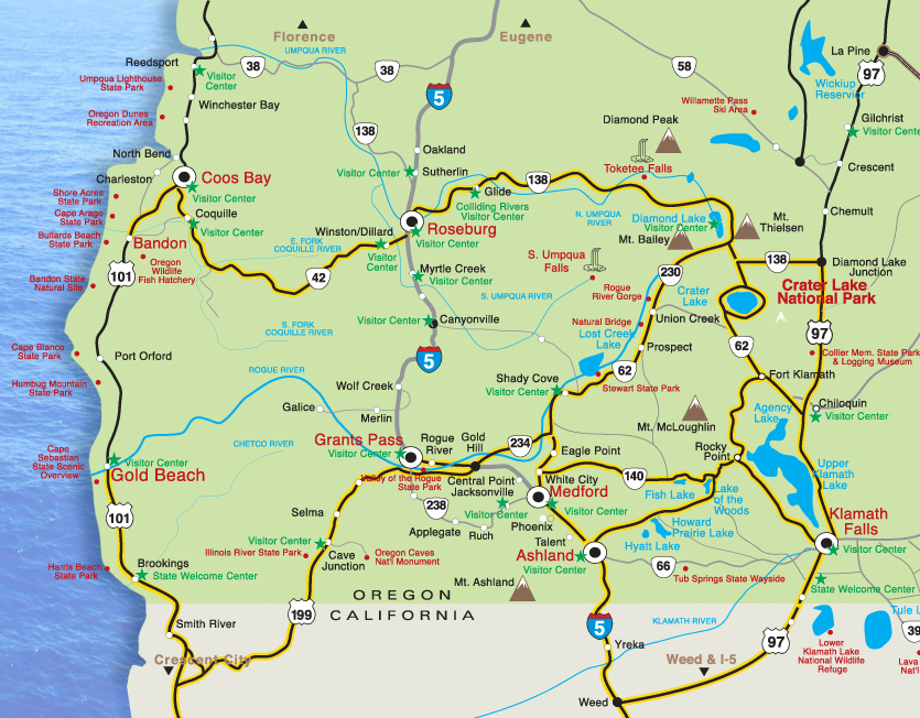 Maps Crater Lake Oregon Lodging Restaurants Things to Do