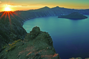 2008 Co-Op Photo Travel Klamath - Crater Lake Sunset by Robert Mutch